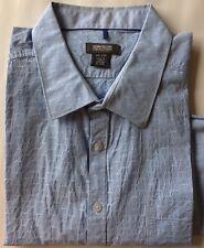 Kenneth Cole Reaction Men Dress Shirt XXL Blue Stripe Long Sleeve 100% Cotton