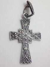Vintage Design Hematite Marcasite Cross Pendant for Necklace Sterling Silver ...