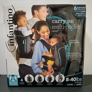 [New & Sealed] 2019 Infantino Carry On Multi-Pocket Gray Baby Carrier 8-40 lbs