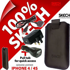 Skech Pouch GENUINE LEATHER Case for iPhone 4S + Cable + USB Car+ Mains Charger