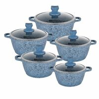 Blue 5pc GRANITE Non Stick Die-Cast Casserole Pan Pot Set INDUCTION Cookware