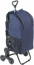 WENKO Shopping Trolley with Seat & 3-wheel System Stairs, Blue, Aluminium Frame