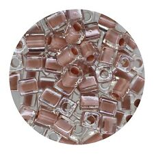 Square Glass Beads Japan 4mm Miyuki Cube Peach Lined Crystal