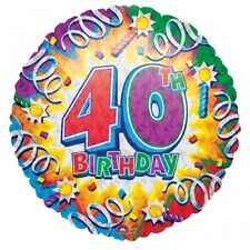 40th Birthday Age 40  Explosion Prismatic Foil Helium Balloon