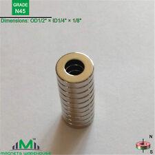 "10-count neodymium N45 ring magnets 1/2""OD x 1/4"" ID x 1/8"" (True N45)"