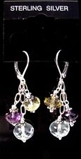 Fancy 925 Sterling Silver 18cttw Amethyst Citrine & Topaz Leverback Earrings F78