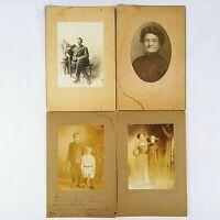 Vintage Cabinet Card Photographs Studio Man Woman Children Lot Of 4
