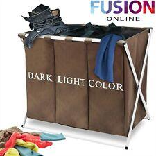 Large Laundry Basket Washing Clothe Storage Basket Bin Hamper Folding 3 Sections