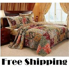 King Size Quilt 3 Piece Set Comforter Bedding Reversible Floral Prints Cotton