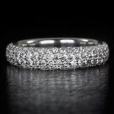 0.90ct G VS PALLADIUM ROUND 4 ROW DIAMOND WEDDING BAND COCKTAIL RING PAVE SET CT