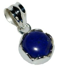 Plata De Ley Lapislázuli Colgante Gema Natural 925 Joyería Azul Solitario