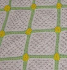 Hand Crocheted Blanket / Lap Throw / Afghan Green White Yellow 54 x 78