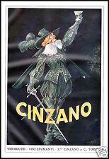 PUBBLICITA' 1919 CINZANO VINO VERMOUTH SPUMANTI MOSCHETTIERE TORINO GOLIA WINE