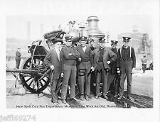 FDNY MEMBERS WITH HORSE DRAWN FIRE ENGINE @ COMPETITON Vintage Photo 1913 FreShp