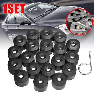 17mm Black Lug Nut Covers 20pc Set for Truck SUV Van Wheel Rim Bolt Center Caps