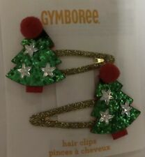 Gymboree Girls Holiday Trees Hair Clips Green Red