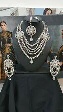 Necklace Set Earrings tikka  Wedding Indian Bollywood Jewellery Silver Purple
