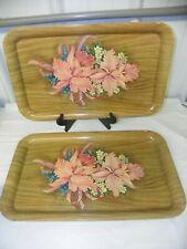 "2 ~ Vintage Metal Serving Lap Tole Tray Wood Grain Pink Irises Design 18"" x 11"""