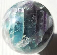 FLUORITE  NATURAL BLUE PURPLE GREEN  AND WHITE SPHERE MARBLE STONE CARVING 294
