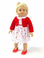 """Doll Clothes 18"""" Dress White Red Floral Shrug Fits 18"""" American Girl Dolls"""