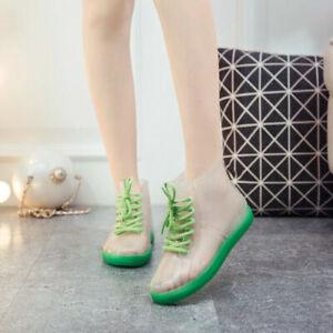 Womens Ankle Strap Rain Boots Transparent Waterproof Rubber Slip Resistant Shoes