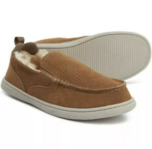 Rockport Original Twin Gore Suede Sherpa Moccasin Slippers Men's Size 9