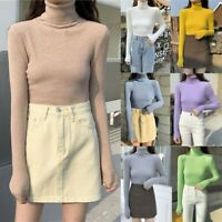 Women Slim Knitted Turtleneck Cashmere wool Jumper Pullover Soft Sweater
