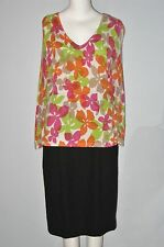 NYGARD Collection Multi-Color Floral Net Long Sleeves V-Neckline Blouse