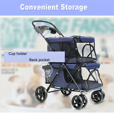 4 Wheels Double-layer Folding Pet Puppy Cat Dog Stroller Pushchair Carrier Blue