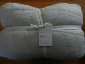 New Pottery Barn Flax Willow Linen/Cotton Twill Handcrafted Quilt King/Cal. King