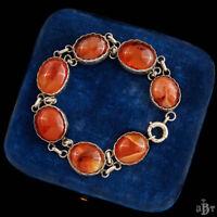 Antique Vintage Nouveau Sterling Silver English Scottish Agate Riviere Bracelet