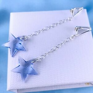 Sterling Silver Crystal Star Dangle Earrings Made With Swarovski Crystal