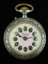 ANTIQUE PERFECTION W&D LARGE SIZE MEN'S POCKET WATCH PINK DIAL 1900s