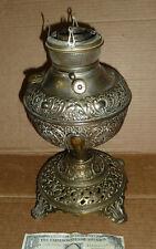 Vintage Brass Kerosene,Oil Lamp,Old Table Light,1895,Cast Iron Base,EM & Co,Orna