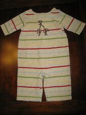 Gymboree Boy Striped Monkey Long Sleeve Velour Romper 0-3 Month Newborn EUC