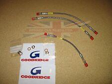 Set of New Stainless Front & Rear Brake Line Hoses MGB 1963-80 Goodridge Made UK