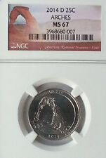 2014 - D 25C - NGC MS67 - Arches NP America the Beautiful Quarter