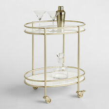 Retro Glam Bar Cart White Marble Shelves Gold Metal Stand Locking Caster Wheels