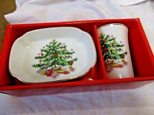 Christmas Tree 2 Piece Bathroom Set Tumbler Cup and Soap Dish New in Box