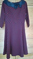 Vintage 1950s Style Dress Black With Red Polka Dots Bow Detailing To Neckline 12