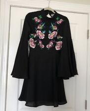 New Asos Black Skater Mini Dress With Embroidery Open Back Size 6 Flattering