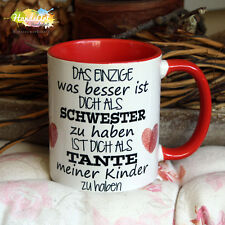 Tasse / Das Einzige Schwester - Tante -ROT- / Geschenk Weihnachten