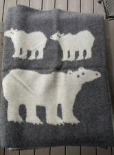 Klippan Sweden 100% Wool Blanket Gray and White – Polar Bears – New