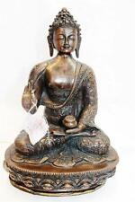"F628 Beautiful Brass Statue of Dhyani Buddha 12.75"" Tall, Made in Nepal"