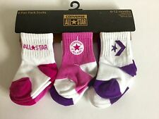CONVERSE All Star 6 pair baby girl infant pink white purple socks 6-12 months