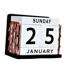 Shyi Home And Office Decor Vintage Wooden Block Perpetual Desk Calendar With