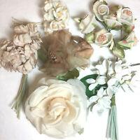 Vintage millinery flowers lot rose rose velvet fabric romantic blush Japan A