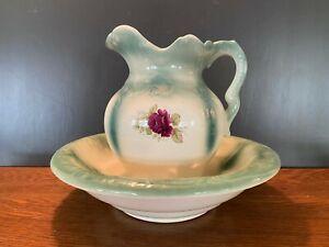 Vintage Ceramic Pitcher with Floral Design and Wash Bowl Basin