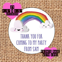 Rainbow party bag sticker ra1 thank you for coming personalised sweet cone