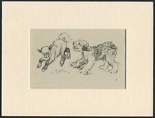 OLD ENGLISH SHEEPDOG PUP AND LAMB OLD 1940'S VERNON STOKES DOG PRINT MOUNTED